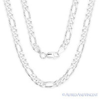 Figaro Link 5.5mm G150 Italian Chain Necklace in Solid 925 Italy Sterling Silver