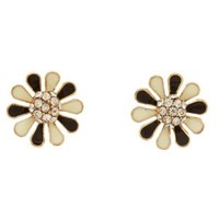 Two-Tone Rhinestone Flower Stud Earrings