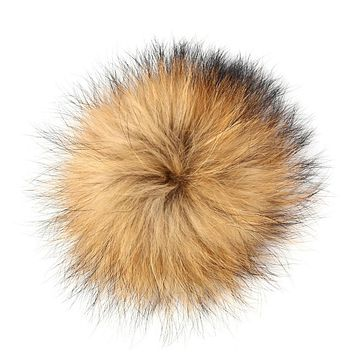 18CM Genuine Real Raccoon Fur Pompom Fur Pom Poms Ball for Hats Caps Ball Shoes Bags key chain Natural Accessories 10 Colors