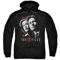 X FILES/MULDER & SCULLY-ADULT PULL-OVER HOODIE-BLACK