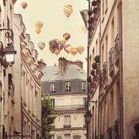 Paris photography, Hot air balloons over street, Travel Photograph, Surreal, Romantic Wall Decor - Paris is a Feeling