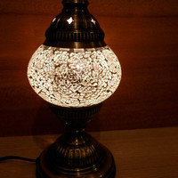 Turkish handmade decorative glass table mosaic lamp, night light, desk light, kid's bedroom lamp.