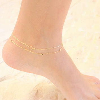 Gold anklet - Set of 2 gold ankle bracelets, 14k gold filled tiny beads anklet and a tiny gold heart anklet, minimalist anklet, perfect gif