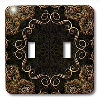 Bev Newcomer Florals and Swirls - Elegant Gold Design on a dark chocolate brown damask background - Light Switch Covers - double toggle switch (lsp_113827_2)