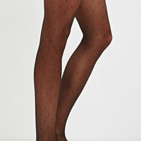 Dotted Diamond-Pattern Tights