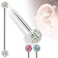 "Pack of 2 Ferido Crystal Clustered Industrial Piercing Bars Pink & Blue 14ga (1.6mm)1 1/2""(38mm)"