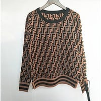 FENDI Women Fashion Letter Pullover Sweater