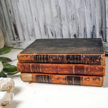 Antique Books, Latin Book Bundle, Old Books, Rustic Farmhouse, Office Decor, Brown Book Stack, Photo Props, Latin Books Late 1800 - 1900