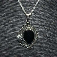 Silver and Black Stone Teardrop Shaped Pendant with Leaf Design Necklace