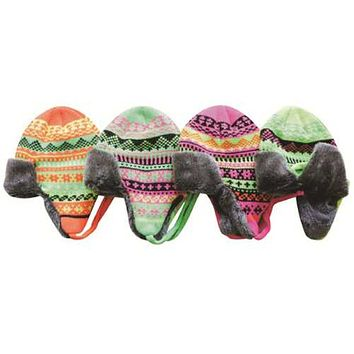 Case of [96] Adult Neon Faux Fur Lining Bomber Hats