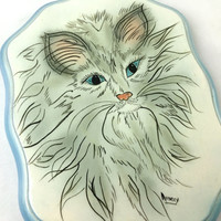 Hand Painted Persian Cat Ceramic Wall Art Stylized Fluffy Grey Blue Eyed Cat Wall Hanging Cat Painting Wall Decor Artist signed Cat Wall Art