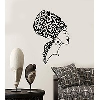 Vinyl Wall Decal Beautiful African Native Woman Face Girl Turban Stickers (2792ig)