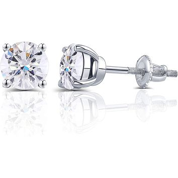 14K White Gold Round Brilliant Cut Moissanite Screw Back Stud Earrings