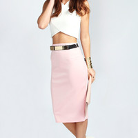 Sienna Metal Belt Scuba Midi Skirt
