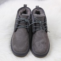 UGG  Man Wool Fur  Short Boots  Flats
