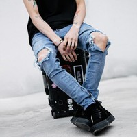 9075 represent clothing designer pants slp blue/black destroyed mens slim denim straight biker skinny jeans men ripped jean