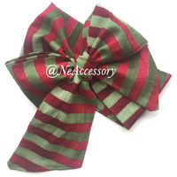 Christmas Head Wrap, Big Bow Headband, Baby Bows, Red, Green and Gold Metallic Headwrap,
