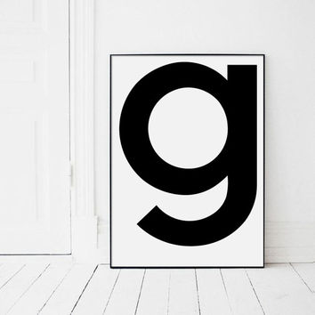 Letter G Print, Letters Wall Art, Black and White Art, Single Letters, g, G, Letter G Poster, Black and White Typography, Affiche Scandinave