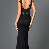 Black Sleeveless Lace Floor Length Open Back Dress