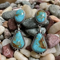 Genuine Turquoise with Ribboning Drop Earrings