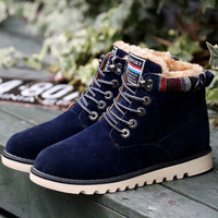 Now shoes Women Men winter with plush fur warm suede ankle snow boots lace up runner Lovers shoes flats high quality M438