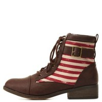 Qupid Flag Print Combat Booties by