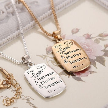 Fashion Love Between Mother and Daughter Gold/Silver Chain Pendant Necklace Best Gift = 1945957892