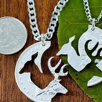 Her Buck His Doe Necklace 2 PC Set Interlocking Deer Couples Promise Necklace