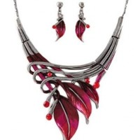 """PammyJ Silvertone Red Leaf Statement Necklace and Earrings Set, 16"""" + 3"""" ext."""