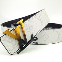 LV color-block alphabet belt for men and women