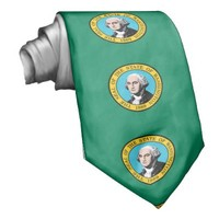 Washington flag, American state flag Tie from Zazzle.com