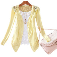 Womens Lace Special Candy Color Crochet Knit Blouse Top Coat Sweater Cardigan YHS = 1958200644