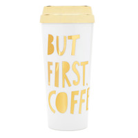 But First, Coffee Travel Mug in White and Gold