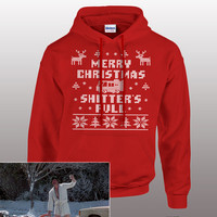 Funny Christmas Hoodie Sweater - merry christmas shitter's full, ugly sweater, pullover hoodie, vacation, cross stitch, mens, ladies, gift,