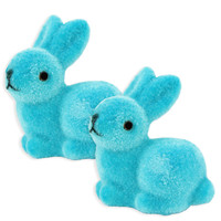 Turquoise Flocked Bunny Rabbit Cake Toppers