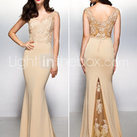 [$119.99] TS Couture® Formal Evening Dress - Champagne Trumpet/Mermaid V-neck Sweep/Brush Train Lace / Jersey