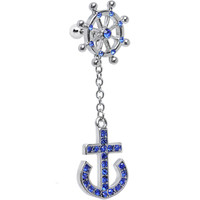 Blue Gem Ship Wheel and Anchor Dangle Helix Cartilage Earring   Body Candy Body Jewelry