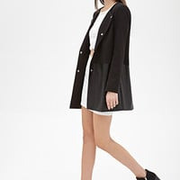 FOREVER 21 Collarless Faux Leather-Paneled Coat
