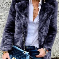 New Deep Blue Faux Fur Turndown Collar Fuzzy Long Sleeve Casual Coat