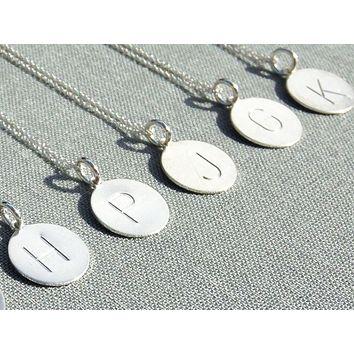 Sterling Silver Small Initial Necklaces