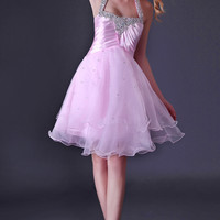Pink Halter Beads Fringed Layers Homecoming Dress