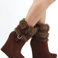 Cute Shoes - Brown Fur Platform Boots - Boots & Booties - $24.99