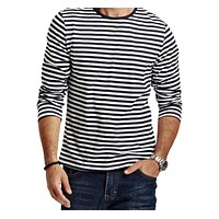 Autumn Casual Striped T Shirt Men  Long Sleeve Men's T ShirtS  Slim Fit Mens Clothes Trend  Tops Tees