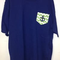 Mongorammed Chevron Stripe SHORT SLEEVE  Comfort Colors Pocket with anchor T Shirt