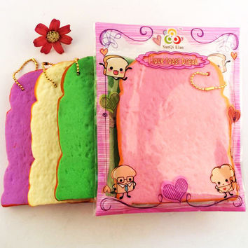 SanQi Elan Squishy Jumbo Toast Slice Piece Bread Slow Rising With Packaging Collection Gift Decor