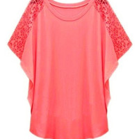ROMWE Lace Panel Batwing Sleeves Loose Red T-shirt