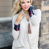 Secondhand Love Plaid Cuff Twisted Top Taupe