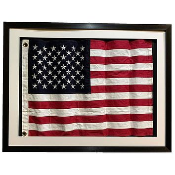 Framed Real Cloth Cotton Embroidered American Flag