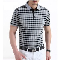 2018 new Polo Man Shirt Mens Short sleeve Burst Summer business Casual Plaid Lapel Cotton Polo Shirt Breathable Brand polo homme