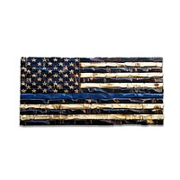 Wood Thin Blue Line Flag 38x20